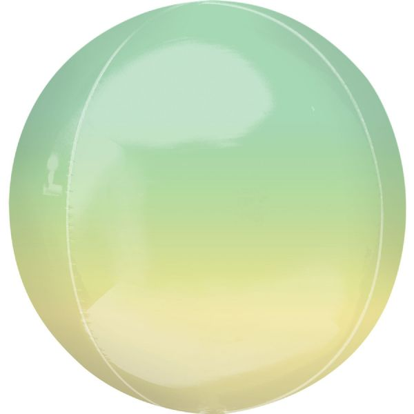 Ombre Yellow & Green Round Orbz 15in Balloon